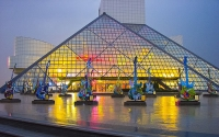 The Rock & Roll Hall of Fame building in Cleveland, Ohio